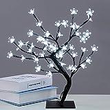 Árbol luminoso LED, 48 LED, lámpara de flores de cerezo, 45 cm, luz de árbol para la decoración interior