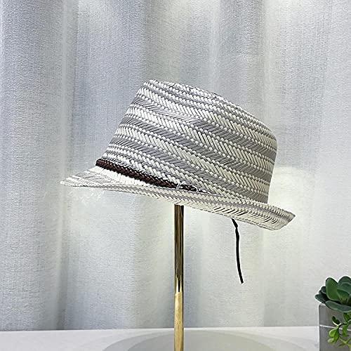 Roshow Sombrero Sombrero Red Sombrero Rojo Sombrero de Sol Hembra Rayado Tejido Dama Temperamento Sombrero de Paja hatQuion-Plata_Ajustable
