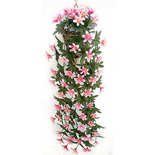 Remeehi artificiel en soie fleur de lys Feuille de vigne Ivy Guirlande à suspendre, rose, 1 pièce