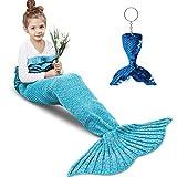 Amyhomie Mermaid Tail Blanket, Little Mermaid Blanket Soft Crochet All Seasons Sleeping Blanket for Kids, Mermaid Gift for Girls(Blue with Ruffles,Kids)