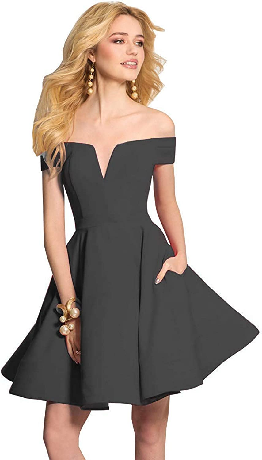 ZLQQ Womens Off The Shoulder Satin Homecoming Dress Short Prom Party Gown with Pockets