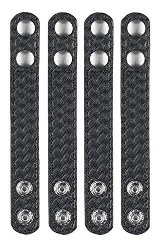 Bianchi AccuMold Elite 4-Pack 7906 Chrome Snap Belt Keepers (Basketweave Black), 2.25 Inches