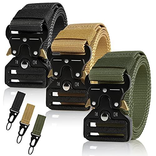 3Pz Cintura Tattica da Uomo Regolabile in Nylon Stile Militare Cintura con Fibbia in Metallo a Sgancio Rapido, per Caccia Trekking Esercizi Sportive Lavoro,125cm