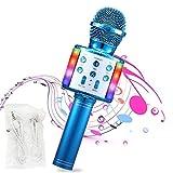 microfono wireless bluetooth a 32 led, per bambini, portatile. per musica, giochi, feste karaoke per android/ios, con cavo di ricarica e cavo aux.