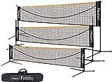 Red de bádminton, red de tenis 3-6 m Red de entrenamiento de red de bádminton de voleibol portátil, 3 alturas ajustables Almacenamiento de red de bádminton plegable, en interiores y exteriores