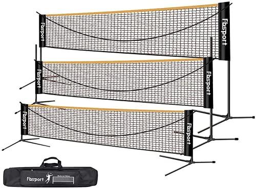 FBSPORT Rete da Badminton, Rete da Tennis 3-6m Rete da Allenamento per Rete da pallavolo Portatile da pallavolo, 3 Altezze Regolabili Portaoggetti per Rete da Badminton Pieghevole, Interni ed Esterni