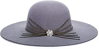 QinMei Zhou Spring and European Style, New Wave, Big Hair, Woolen hat, Fashion Lady hat, hat (Color : Grey, Size : 57cm)