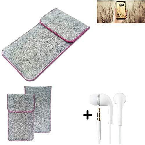 K-S-Trade Filz Schutz Hülle Für Allview X4 Soul Infinity N Schutzhülle Filztasche Pouch Tasche Hülle Sleeve Handyhülle Filzhülle Hellgrau Pinker Rand + Kopfhörer