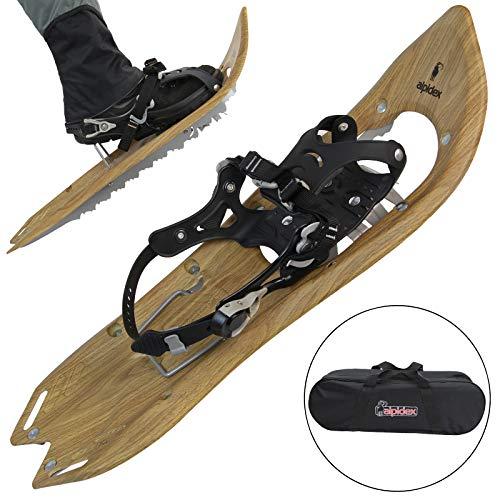 ALPIDEX Schneeschuhe Holzoptik Vintage Steighilfe Tragetasche Schuhgröße 38 bis 45 Optional Carbon Stöcke, Farbe:Brown Timber - ohne Stöcke