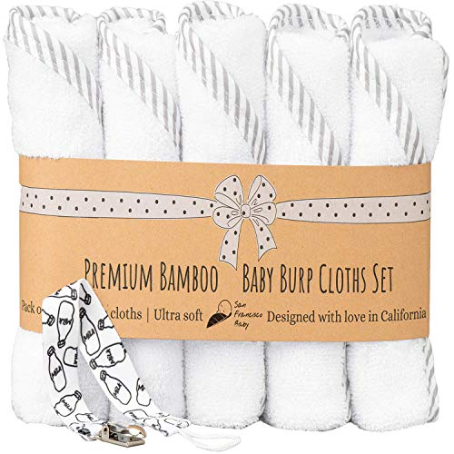 """Ultra Soft Burp Cloths Unisex 5 Pack Bamboo and Cotton w/Pacifier Clip - Comfortable Fabric - Extra Absorbent Burping Bib for Spit-Ups and Spills - 19 x 9"""" Baby Burp Cloths/White and Gray"""