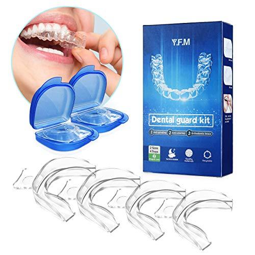Kit de Protección Dental 4 piezas, Y.F.M Protector Bucal Cuidado Dentadura Dental Bruxismo Rechinar Dientes Imprescindible para Atletas, Ferula Dental Moldeable, Cómodo