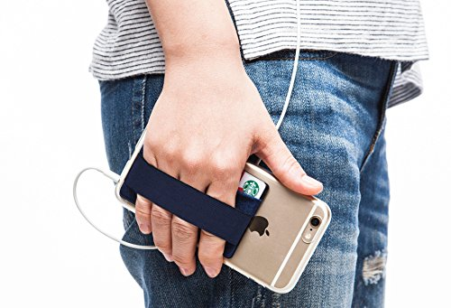 Sinjimoru Cell Phone Grip with Card Wallet, Phone Wallet Stick on Card Holder for Back of Phone, Slim Wallet with Elastic Phone Strap. Sinji Pouch Band Navy
