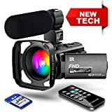 【New Upgrade】 Ultra HD Video Camera Camcorder 1080P 42M Vlogging Camera YouTube Digital Recorder Camera IR Night Vision IPS Touch Screen with Microphone Remote Control, Lens Hood, Battery Charger