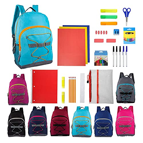 24 Value Bundle Pack - 17 Inch Wholesale Sport Backpacks in 8 Assorted Colors with 50 Piece School Supply Kits - Bulk - Case of 12 Backpacks, 12 Kits