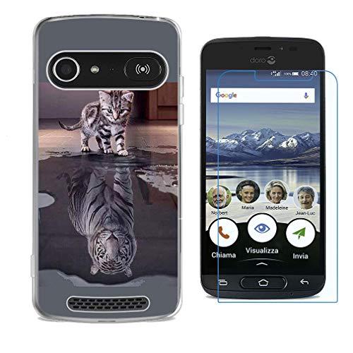 HHUAN Hülle für Doro 8040 Hülle Weiche Semi-Transparent Silikon Tiger & Katze Schale TPU Schutzhülle Cover + HD Schutzfolie Bildschirmschutzfolie für Doro 8040 (5.0