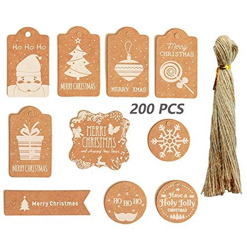 Ziyero 200 Piezas Etiquetas Rgalo Navidad Kraft Set Etiqueta Regalo Navidad con Hilo Yute Seguro y Duradero, para Navidad, Fiestas, Bodas, Días Festivos, Tarjetas de Regalo, Notas Etc—10 Estilos