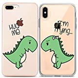 Lex Altern Couple Cases Compatible with iPhone 12 Pro Max 11 Mini SE Xr Xs 8 Plus 7 6 Hug Me Clear Adorable BFFs Cover Boyfriend Best Friend Bestie Protective Funny Dinosaurs Cute T-Rex Silicone Green