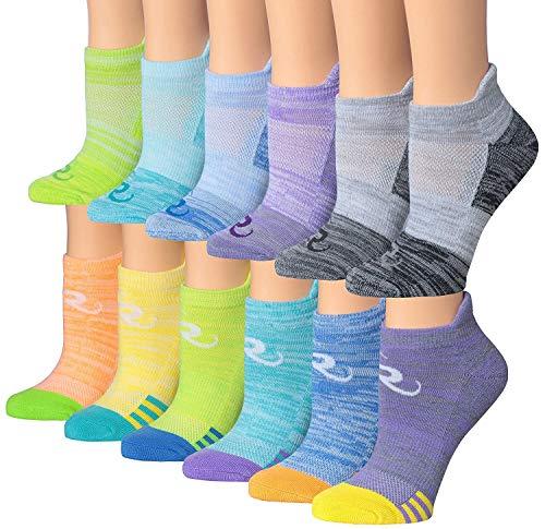 Ronnox Women's 12-Pairs Low Cut Running & Athletic Performance Tab Socks Small/Medium RLT13-AB-SM