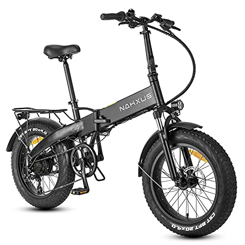 F-wheel Bicicletta Elettrica Pieghevole F063, 20'X 4.0 Bici Elettriche Fat Tire per Adulti, 350W Motore 25Km/h, Batteria 48V/10Ah, Bici Pedalata Assistita con Shimano 7 Velocità e LCD