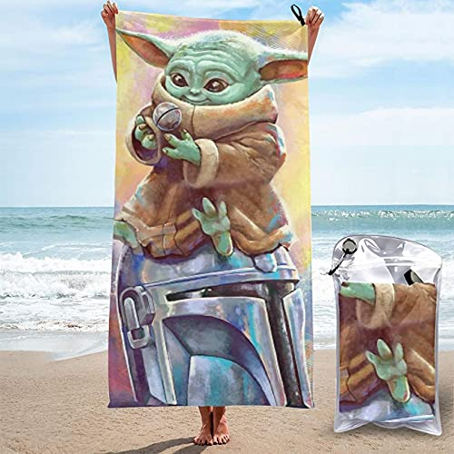Baby Yoda Star The Wars - Toalla mandaloriana de secado rápido, ligera, suave, para playa, natación, gimnasio, viajes, camping, 27,5 x 139,7 cm