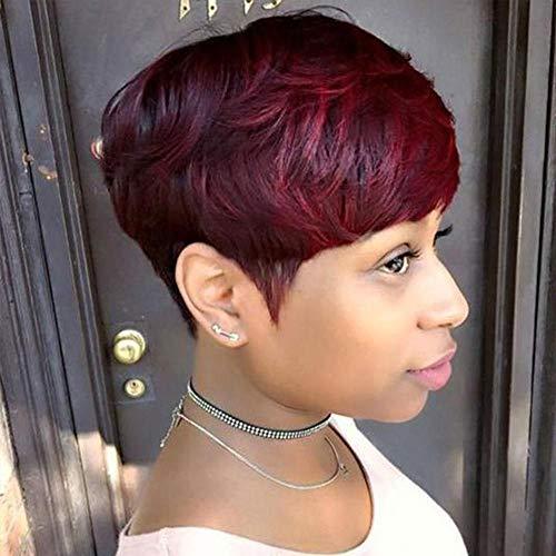 Short Human Hair Pixie Cut Wigs Non Lace Front Wigs Short Bob Wigs for Black Women 150% Density Brazilian Virgin Human Hair (OT530)