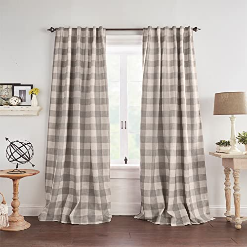 Elrene Home Fashions Farmhouse Living Grainger Buffalo-Check Blackout Window Curtain, 52 in x 84 in, Gray