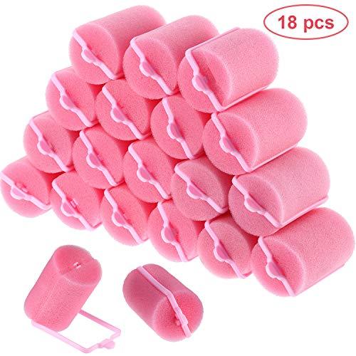 18 Stücke Schwamm Lockenwickler 40 mm Weichschaum Lockenwickler Large Größe Lockenwickler für Damen und Kinder (40 mm)