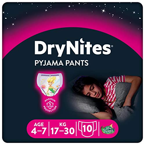 Huggies DryNites girl hochabsorbierende Pyjamahosen Unterhosen 4-7 Jahre, 2er Packung mit 3 x 10 Windeln