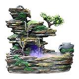 Cascada interior de fuente de mesa Fuente de circulación de escritorio Cascada Humidificador atomizado Resina Interior Creativo Waterscape Decoración Regalo Interior Decoración interior de meditación