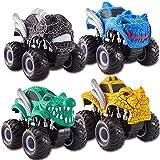 kimonca Monster Truck 4 Piezas Camión Inercia Rotación de 360 Grados Juguetes Regalo para Niños Niñas 3 4 5 Año