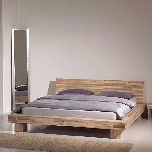 Pharao24 Doppelbett Holz Akaziefarben Breite 214 cm Liegefläche 180x200