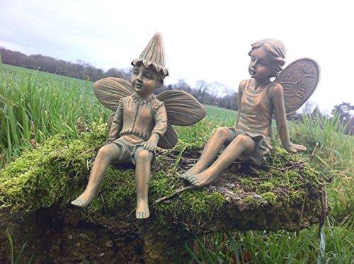 braunen Mädchen und Junge/Patio Fairy Garden Ornament: 20cm (HxLxB)–12cm (4.75ins)–16cm (6.25ins)