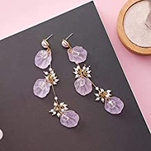 GMXEHUAN Earring High Quality Simple Sweet And Cute Animal Pattern Unique Design Charm New Korean Acrylic Shell Crystal Beads Long For Women Fashion Simulated Pearl Colorful Tassel Earings