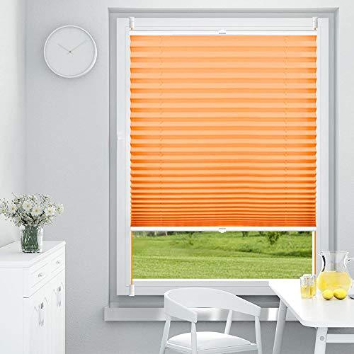 OUBO Plissee Klemmfix Faltrollo ohne Bohren Jalousie mit Klemmträger (Orange, B70cm x H120cm) Sonnenschutz und Sichtschutz Easyfix lichtdurchlässig Rollo für Fenster & Tür