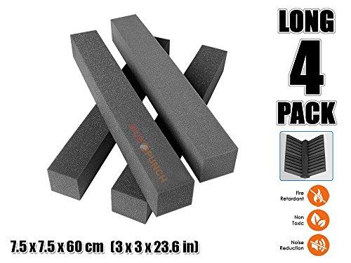 Acepunch 4 Stucke SCHWARZ Lange Ecke Block Bassfalle Akustisch Absorption Schaum 7.5 x 7.5 x 60 cm AP1160