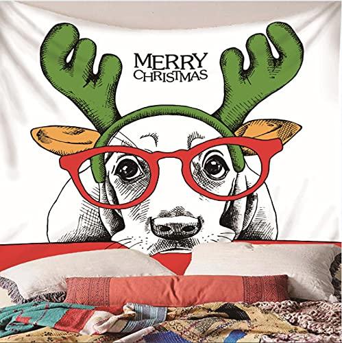 Weibing Tapiz de impresión en Color 3D Estilo Moderno patrón de Imagen de Dibujos Animados de Animales de Navidad decoración del hogar tapices Arte de Pared para Habitaciones 240(An) x220(H) cm