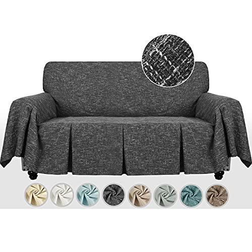 MAXIJIN Copridivano 1 pezzo effetto lino Copridivano divano 2 posti Copridivano divano con volant Coprisedili per cani per soggiorno (2 Seater, Nero)