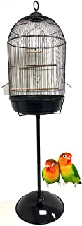 Mcage Round Bird Cage with Stand Finch Canary Cockatiel Parakeet Dome Top, Cage Only Dimension: 16