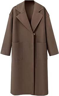 Howme-Women Baggy Maxi Wool Blended Knee Length Notch Lapel Cardigan