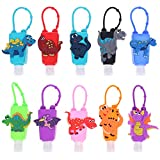 XIDAJIE 10Pack Silicone Bottles Holder 1oz/30ml Dinosaur Cartoon Hand Sanitizer Holder Reusable Liquid Soap Detachable Empty Bottles Keychain Carriers Travel Sized