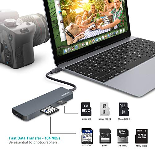 USB C Hub HDMI, HOGORE 7-in-1 USB Type C Multi-Port Adapter Dongle with 4K HDMI, 60W PD Charging,3 USB 3.0 Ports,SD/Micro,Compatible with MacBook,HP Spectre,Dell XPS, Surface Go 2, iPad Air 4