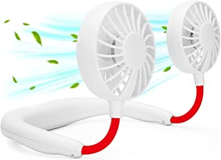 Portable Neck Fans, Personal Neckband Fan Rechargeable Head Fans for Face, Headphone Wearable USB Neck Round Fan, 3 Speed Adjustable 360° Rotation Fan for Hot Flashes Traveling Sports Office