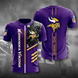 Xiaolimou Hommes T-Shirt NFL 2021 Minnesota Vikings Fans Rugby Chemises Confortable Maillots Uniforme Top Brodés XXS-5XL, Confortable Et Respirant, Lavable en Machine,Violet,XS