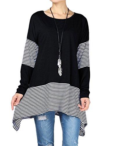 Vogstyle Damen Tunika Rundhals Ausschnitt Streifen T-Shirt Patchwork Design Unregelmäßiger Saum Mini Kleid Schwarz XXL