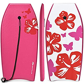 Goplus Super Lightweight Bodyboard 37-41 inch Body Board with EPS Core XPE Deck HDPE Slick Bottom and Premium Wrist Leash for Sea Beach Surfing for Kids Teens and Adults  Rose 41