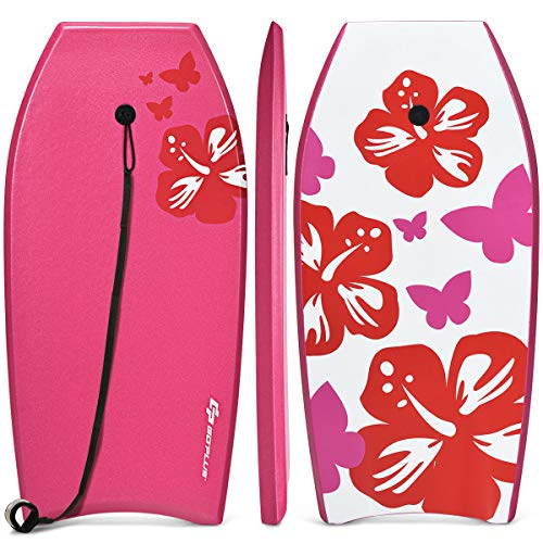 Goplus Super Lightweight Bodyboard, 37-41 inch Body Board with EPS Core, XPE Deck, HDPE Slick Bottom and Premium Wrist Leash, for Sea, Beach, Surfing for Kids Teens and Adults (Rose, 37)