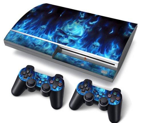 Funky Planet PS3 Fat PlayStation3 Fat Designfolie Sticker Skin Set für Konsole + 2 Controller by (Blue fire)