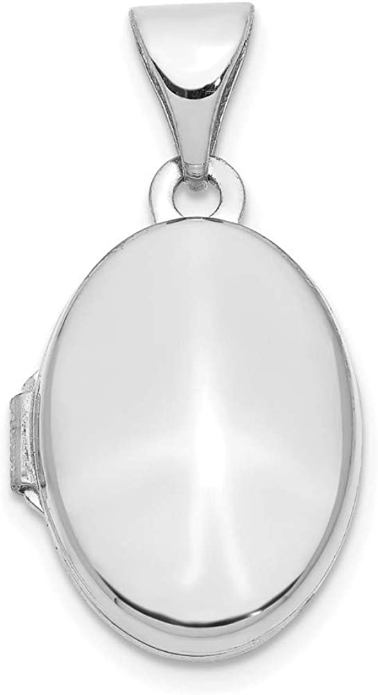 14k White Gold 13mm Oval Assembled Photo Pendant Charm Locket Chain Necklace That Holds Pictures Fine Jewelry For Women Gifts For Her