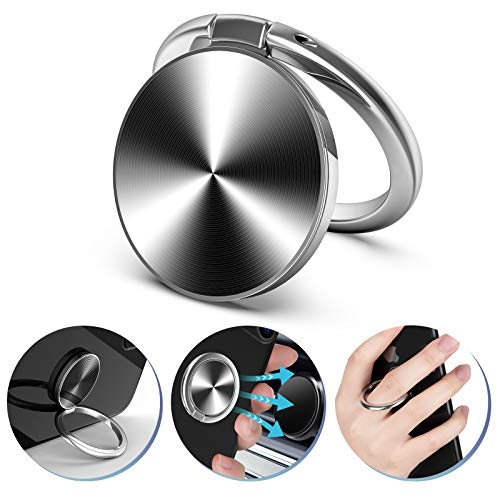 ORIbox Finger Ring Stand, Phone Ring Kickstand, Metal Grip Holder for Magnetic Car Mount Compatible with iPhone Galaxy Smartphone Accessories Black