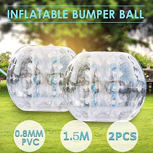 Popsport Inflatable Bumper Ball Set 5FT Bubble Soccer Ball Suit 2 Pack 0.8mm Eco-Friendly PVC Zorb...